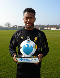LIVERPOOL, ENGLAND - Wednesday, March 12, 2014:<br /> Liverpool's Daniel Sturridge receives his Barclays Player of the Month award for February<br /> 2014. (Pic by Paul Currie/Action Images)