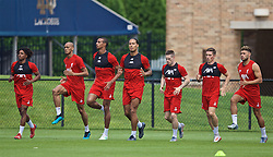 SOUTH BEND, INDIANA, USA - Thursday, July 18, 2019: Liverpool players during a training session ahead of the friendly match against Borussia Dortmund at the Notre Dame Stadium on day three of the club's pre-season tour of America. Yasser Larouci, Fabio Henrique Tavares 'Fabinho', Joel Matip, Virgil van Dijk, Ryan Kent, Harry Wilson and Alex Oxlade-Chamberlain. (Pic by David Rawcliffe/Propaganda)