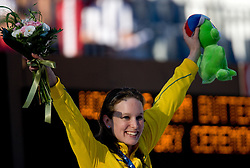 Winner Marieke Guehrer of Australia at the victory ceremony after the Women's  50m Butterfly Final during the 13th FINA World Championships Roma 2009, on August 1, 2009, at the Stadio del Nuoto,  in Foro Italico, Rome, Italy. (Photo by Vid Ponikvar / Sportida)