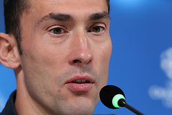 September 26, 2017 - Turin, Piedmont, Italy - Silvio Proto (Olympiacos FC) speaks during the Olympiakos FC press conference on the eve of  the UEFA Champions League (Group D) match between Juventus FC and Olympiakos FC  at Allianz Stadium on 26 September, 2017 in Turin, Italy. (Credit Image: © Massimiliano Ferraro/NurPhoto via ZUMA Press)