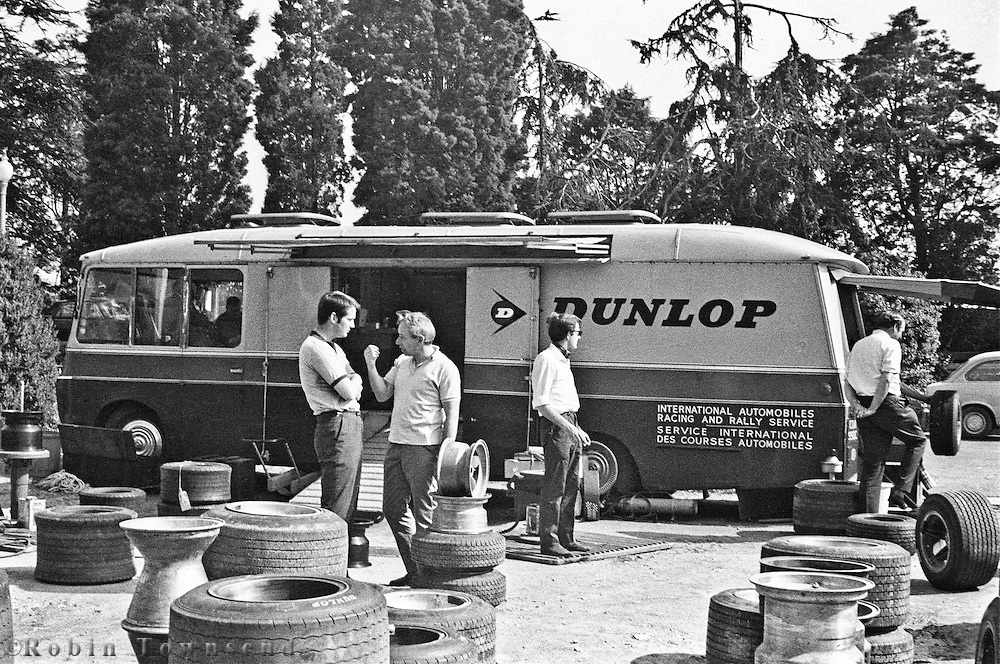 The Dunlop Motor Racing Service truck during the 1969 Spanish Grand Prix at the Montjuïc urban circuit in Barcelona, Spain.