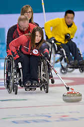 Ina Forrest, Dennis Thiessen, Sonja Gaudet, Wheelchair Curling Semi Finals at the 2014 Sochi Winter Paralympic Games, Russia