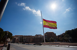 THEMENBILD - die spanische Flagge auf Halbmast am Plaza de Colon. Sie liegt im Zentrum der iberischen Halbinsel und ist Hauptstadt von Spanien. Aufgenommen am 25.03.2016 in Madrid ist Spanien // Madrid is on of the biggest metropolis in Europe. It is located in the center of the Iberian Peninsula and is the capital of Spain. Spain on 2016/03/25. EXPA Pictures © 2016, PhotoCredit: EXPA/ Jakob Gruber