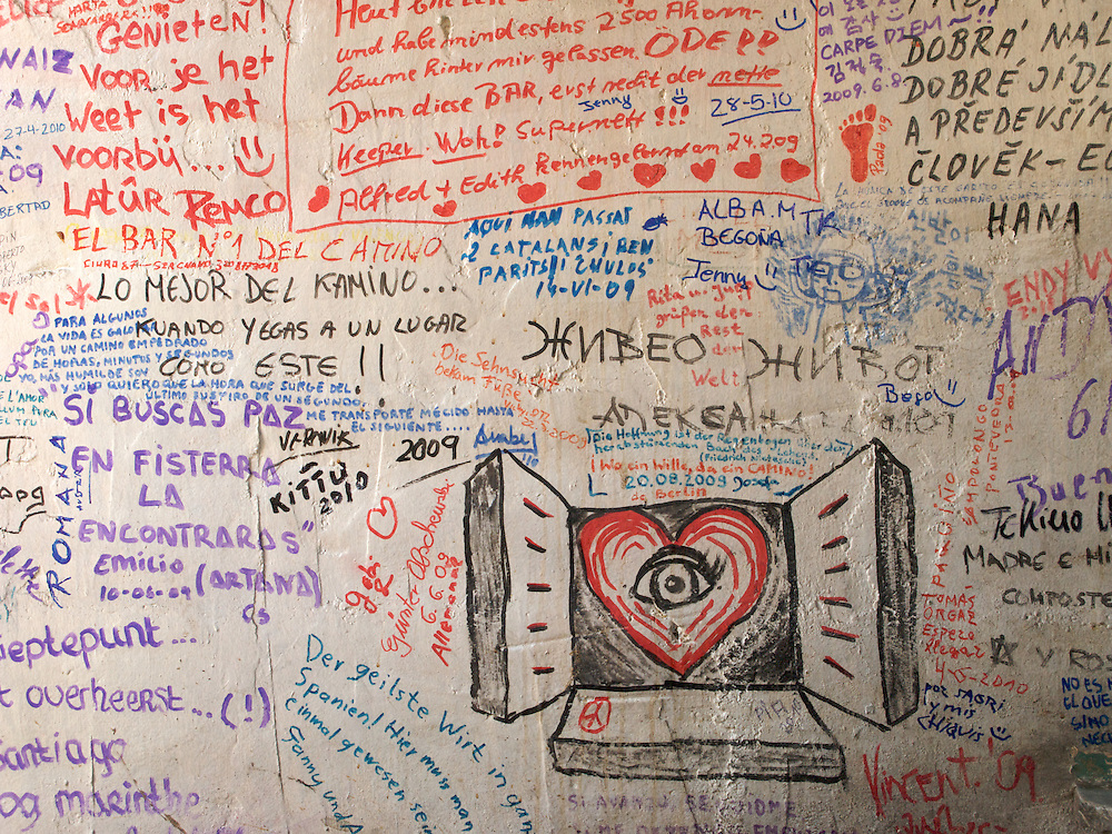 In a bar in Reliegos, pilgrims would write messages to others who were to follow. The bar owner was quite a character and did not mind his bar being covered in such scrawling. Messages would often find their way to Santiago de Compostela.