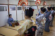 Geishas and 'maikos' (geisha apprentice) in dance class. Geisha school(Kaburenjo) of Miyagawacho.Kyoto.Kansai, Japan.