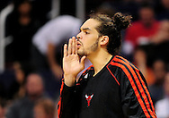 Nov. 14, 2012; Phoenix, AZ, USA; Chicago Bulls center Joakim Noah (13) reacts from the bench during the game against the Phoenix Suns in the first half at US Airways Center. Mandatory Credit: Jennifer Stewart-USA TODAY Sports