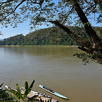 Flat-bottomed Boats on Mekong River in Luang Prabang, Laos<br />