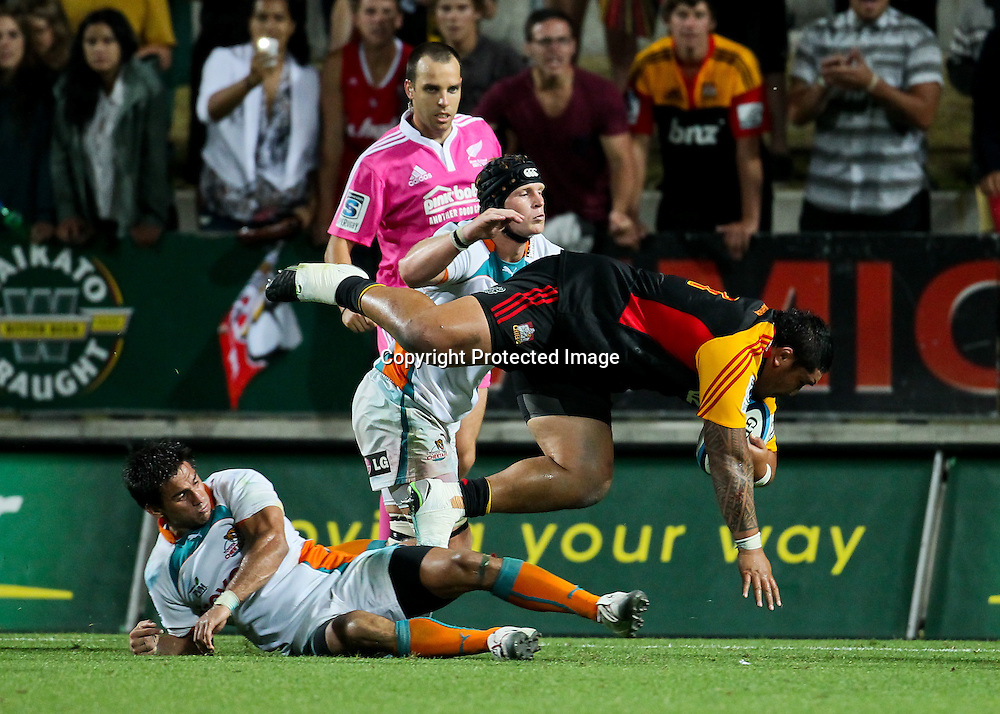 Chief's Ben Tameifuna scores a try during the Super 15 Rugby match - Chiefs v Cheetahs, 3 March 2013, Waikato Stadium, Hamilton, New Zealand.  Photo: Bruce Lim / photosport.co.nz