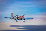 Van's RV-6., just after takeoff.  <br /> <br /> Created by aviation photographer John Slemp of Aerographs Aviation Photography. Clients include Goodyear Aviation Tires, Phillips 66 Aviation Fuels, Smithsonian Air & Space magazine, and The Lindbergh Foundation.  Specialising in high end commercial aviation photography and the supply of aviation stock photography for advertising, corporate, and editorial use.
