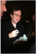 Paul Allen with a dog called Plum, www.style365.com, Four Seasons, New York. 6 February 2000. © Copyright Photograph by Dafydd Jones 66 Stockwell Park Rd. London SW9 0DA Tel 020 7733 0108 www.dafjones.com
