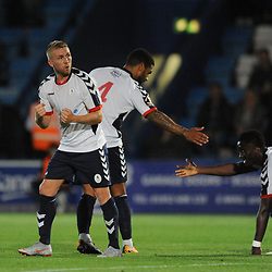 TELFORD COPYRIGHT MIKE SHERIDAN 14/8/2018 - GOAL. Darryl Knights of AFC Telford celebrates after scoring to make it 2-0 during the Vanarama Conference North fixture between AFC Telford United and Brackley Town.