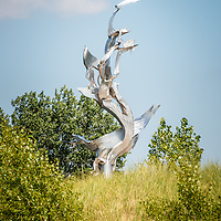 """St. Joseph Michigan """"And You, Seas"""" Metal Sculpture by artist Richard Hunt. """"And You, Seas"""" is part of the Krasl Connection at the Krasl Art Center. The photo is high resolution and was taken in 2013. Image Copyright © Paul Velgos All Rights Reserved."""