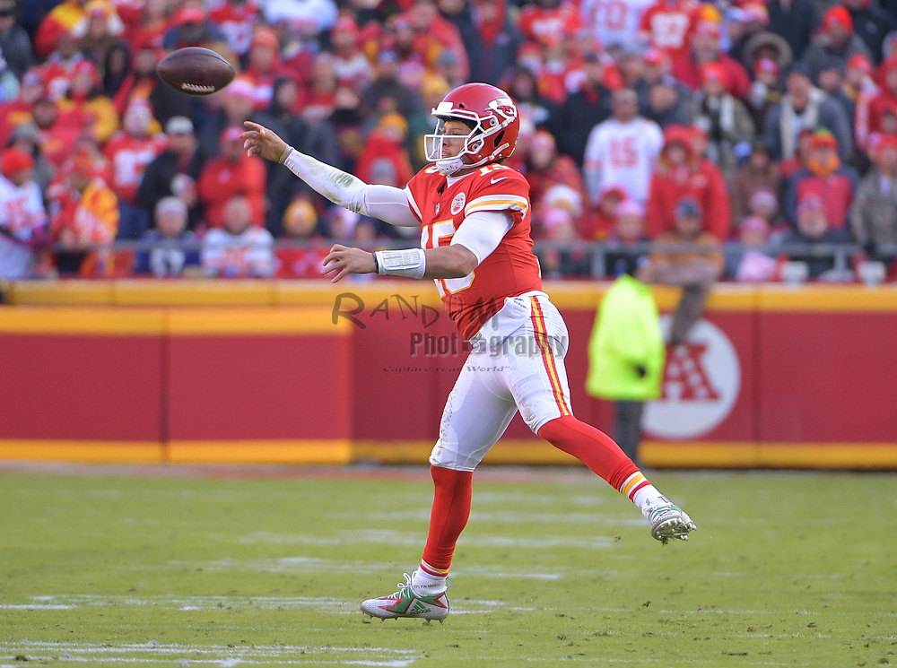 Dec 9, 2018; Kansas City, MO, USA; Kansas City Chiefs quarterback Patrick Mahomes (15) throws a pass during the second half against the Baltimore Ravens at Arrowhead Stadium. Mandatory Credit: Denny Medley-USA TODAY Sports