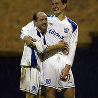 Raith Rovers v St Johnstone...29.11.03<br />Chris Hay celebrates his goal with Brian McLaughlin<br /><br />Picture by Graeme Hart.<br />Copyright Perthshire Picture Agency<br />Tel: 01738 623350  Mobile: 07990 594431