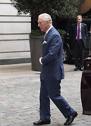 Rosewood Hotel, Holborn, London, November 1st 2016. His Royal Highness  Charles The Prince of Wales accompanied by Camilla The Duchess of Cornwall arrive at the Rosewood Hotel in Holborn, London, to greet the President of Colombia Juan Manuel Santos, who is on a State Visit to Britain, and his wife Maria Clemencia Rodriguez de Santos before travelling with them to their ceremonial welcome At Horse Guargrds Parade by Her Majesty The Queen. PICTURED: Prince Charles arrives at The Rosewood Hotel.