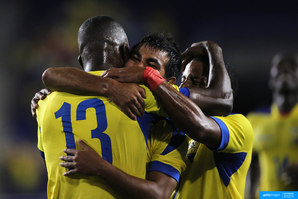 Enner Valencia, (left), Ecuador, is congratulated by teammates after scoring during the Ecuador Vs El Salvador friendly international football match at Red Bull Arena, Harrison, New Jersey. USA. 14th October 2014. Photo Tim Clayton