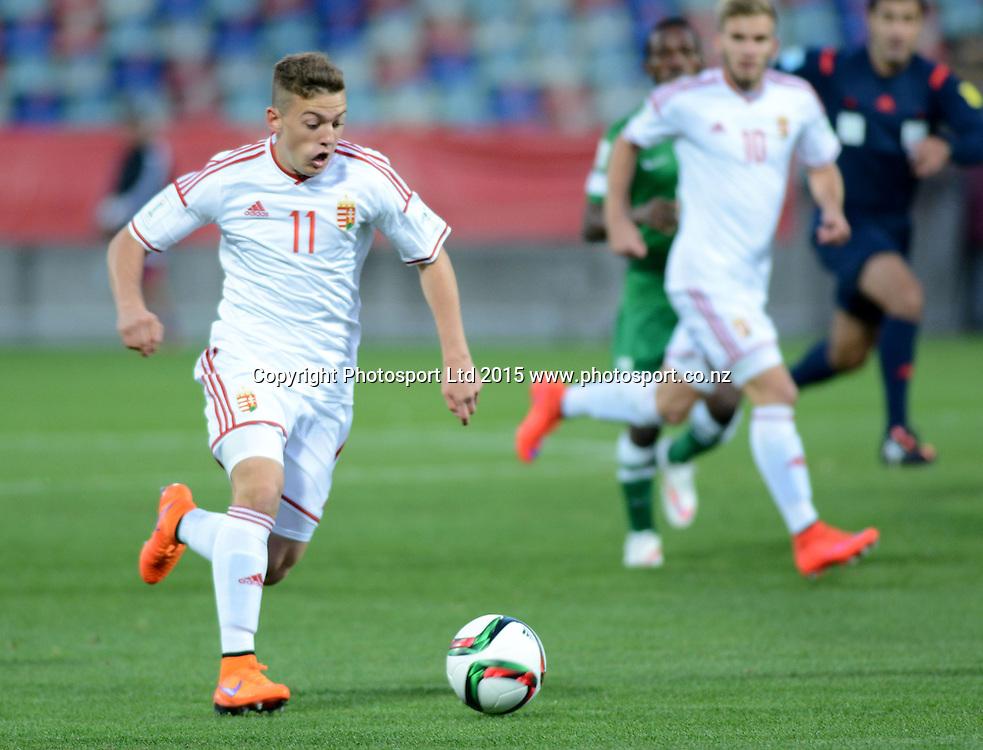 Hungary's Donat Zsoter during the FIFA U-20 World Cup New Zealand. Hungary vs Nigeria, played at Stadium Taranaki, New Plymouth NZ, Sunday 7th June 2015.  <br />  Photo John Velvin / ESPNZ