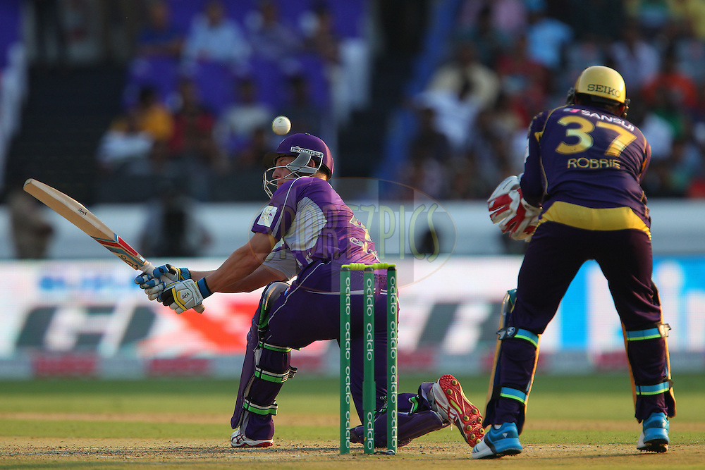 Evan GULBIS of the Hobart Hurricanes edge the ball over the keeper during the first semi final match of the Oppo Champions League Twenty20 between the Kolkata Knight Riders and the Hobart Hurricanes held at the Rajiv Gandhi Cricket Stadium, Hyderabad, India on the 2nd October 2014<br /> <br /> Photo by:  Ron Gaunt / Sportzpics/ CLT20<br /> <br /> <br /> Image use is subject to the terms and conditions as laid out by the BCCI/ CLT20.  The terms and conditions can be downloaded here:<br /> <br /> http://sportzpics.photoshelter.com/gallery/CLT20-Image-Terms-and-Conditions-2014/G0000IfNJn535VPU/C0000QhhKadWcjYs