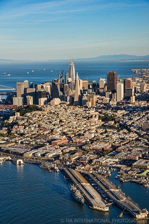 Fishermen's Wharf (foreground), Telegraph Hill & Downtown SF