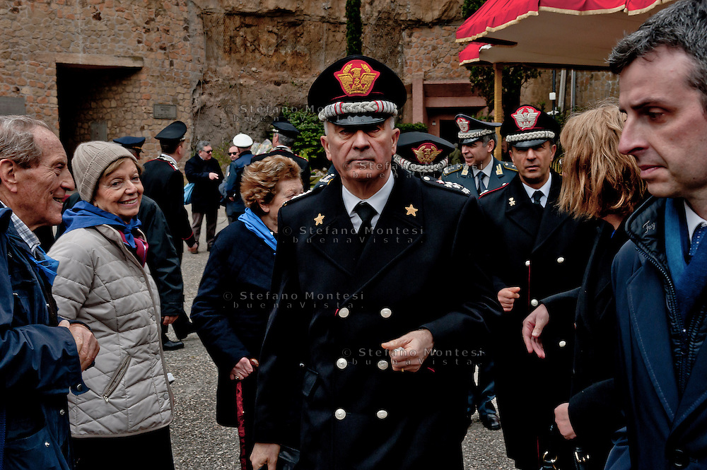 Commemoration for the 72th anniversary of the massacre  Fosse Ardeatine, made in Rome by the occupation troops of Nazi Germany, the  March 24, 1944, were killed, 335 civilians and Italian soldiers. Pictured: The General Tullio Del Sette, Commanding General of the Carabinieri.<br /> Rome Italy. March 23, 2016.