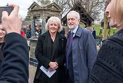 © Licensed to London News Pictures. 22/03/2019. Newport, Monmouthshire, UK. Funeral of Paul Flynn, Labour MP for Newport West from the 1987 general election until his death, at St Woolos Cathedral. JEREMY CORBYN, leader of the Labour Party, talks to RUTH JONES, Labour Parliamentary candidate for the Newport West by-election, after leaving the funeral where he gave a speech during the service. Photo credit: Simon Chapman/LNP