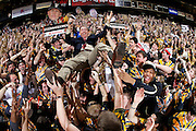 NASHVILLE, TN - FEBRUARY 11: ESPN television analyst Dick Vitale crowd surfs atop Vanderbilt Commodores fans in the student section before the game against the Kentucky Wildcats at Memorial Gymnasium on February 11, 2012 in Nashville, Tennessee. Kentucky won 69-63. (Photo by Joe Robbins) *** Local Caption *** Dick Vitale
