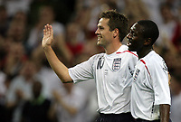 Photo: Rich Eaton.<br /> <br /> England v Russia. UEFA European Championships Qualifying. 12/09/2007. England's Michael Owen (L) and Shaun Wright-Phillips (R) after Owen scores his second goal of the game.