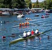 Henley on Thames, England, United Kingdom, 4th July 2019, Henley Royal Regatta,Heat of the Visitors' Challenge Cup, A.S.R. Nereus and D.S.R. Laga, NED taking the verdict against Syracuse University USA,  approaching the finishing line, Henley Reach, [© Peter SPURRIER/Intersport Image]<br /> <br /> 14:54:10 1919 - 2019, Royal Henley Peace Regatta Centenary,