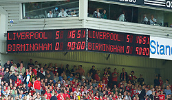 LIVERPOOL, ENGLAND - Saturday, April 23, 2011: Liverpool's scoreboard records a 5-0 victory over Birmingham City during the Premiership match at Anfield. (Photo by David Rawcliffe/Propaganda)