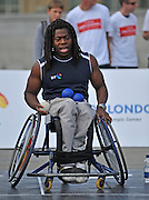 CENTRAL LONDON Ade Adepitan. To celebrate two years to go until the 2012 Paralympic Games begin in London, the Mayor and Paralympians try their hand at the unique Paralympic sport of Boccia.  Played on a full size Boccia court in Trafalgar Square,the game, similar to bowls, was created especially for athletes with severe disabilities. .  23 August 2010. STEPHEN SIMPSON..