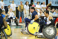 July 7th, 2006: Anchorage, AK - Scot Severn leads a futile Blue team advance as White defeated Blue in the gold medal game of Quad Rugby at the 26th National Veterans Wheelchair Games.