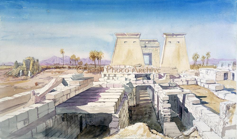 Karnak', 1863. Watercolour. Charles Vacher (1818-1883), British artist. Ancient Egypt Archaeology Ruins