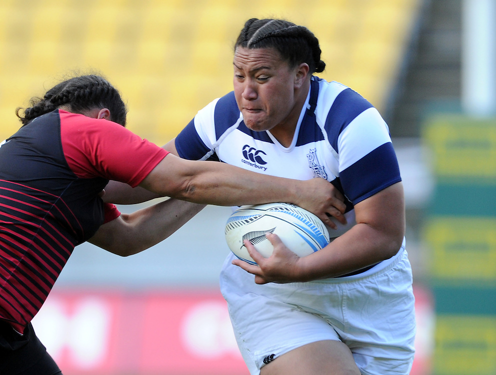 Aucklands' Doris Taufateau against Canterbury in the Women's National Provincial Rugby Final at Westpac Stadium, Wellington, New Zealand, Saturday, October 26, 2013. Credit:SNPA / Ross Setford