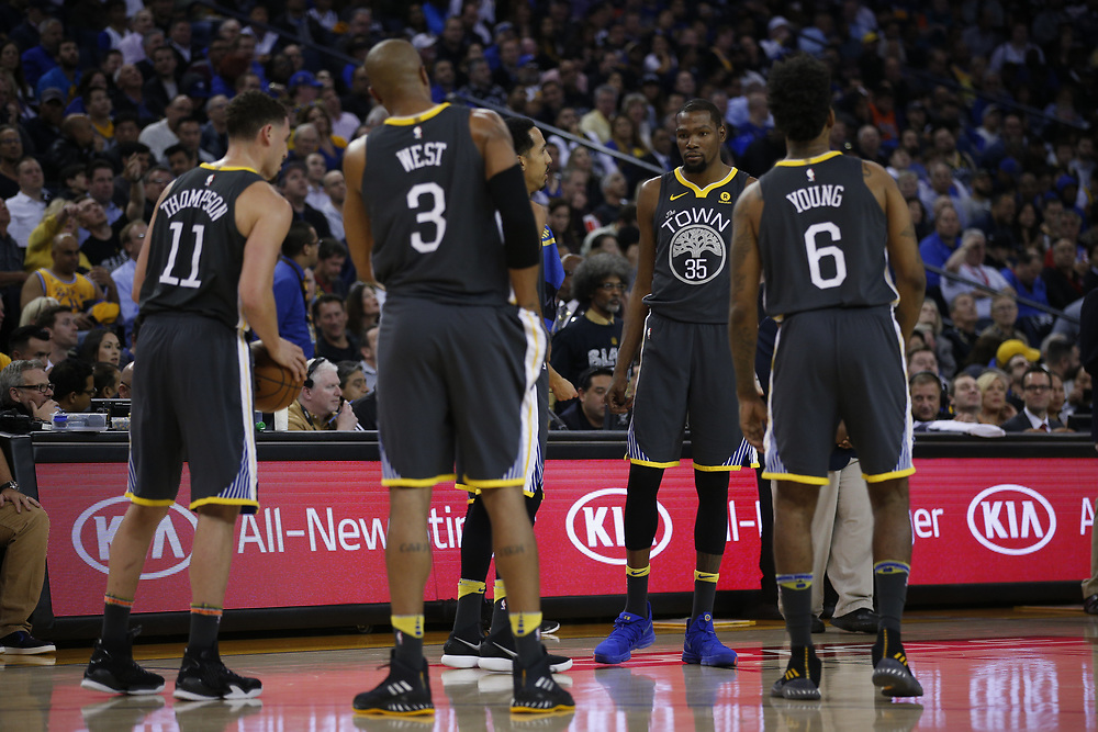 Golden State Warriors during the first half of an NBA game between the Warriors and Oklahoma City Thunder at Oracle Arena, Tuesday, Feb. 6, 2018, in Oakland, Calif.