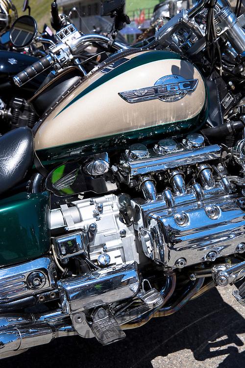 Detail of Honda F6C motorbike at The Stelvio Pass, Passo dello Stelvio, Italy