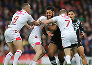 Sam Tomkins and Josh Hodgson of England tackle Isaac Liu (C) of New Zealand during the Autumn International Series match at Anfield, Liverpool<br /> Picture by Stephen Gaunt/Focus Images Ltd +447904 833202<br /> 04/11/2018