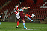 Rohan Ince  and Joe Powell    during the leasing.com EFL Trophy match between Cheltenham Town and U21 West Ham United at Jonny Rocks Stadium, Cheltenham, England on 8 October 2019.
