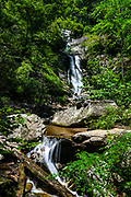 Tom's Creek Falls, an 80 foot waterfall located in the Pisgah National Forest in Marion, North Carolina.<br /> <br /> &copy; Photography by Kathy Kmonicek