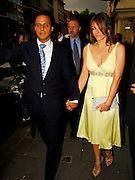 24.MAY.2007. LONDON<br /> <br /> LIZ HURLEY AND HUSBAND ARUN LEAVING CROCKFORD'S IN MAYFAIR AFTER ATTENDING THE LAUNCH OF LUXURY PUBLISHING COMPANY SPEAR MEDIA'S NEW RACING MAGAZINE THE DERBY, THEY THEN WENT ONTO THE DORCHESTER FOR DINNER WITH TRINNY WOODALL AND HER HUSBAND, TRINNY LEFT AT 10.30PM AND LIZ AND ARUN LEFT VIA THE GARAGE AT 11.45PM AND WENT HOME.<br /> <br /> BYLINE: EDBIMAGEARCHIVE.CO.UK<br /> <br /> *THIS IMAGE IS STRICTLY FOR UK NEWSPAPERS AND MAGAZINES ONLY*<br /> *FOR WORLD WIDE SALES AND WEB USE PLEASE CONTACT EDBIMAGEARCHIVE - 0208 954 5968*