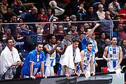 Esultanza panchina Sassari, EA7 EMPORIO ARMANI OLIMPIA MILANO vs DINAMO SASSARI, 20 giornata Campionato LBA 2017/2018, Mediolanum Forum Milano 04 marzo 2018