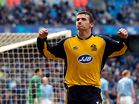 Photo: Jed Wee.<br />Manchester City v Wigan Athletic. The Barclays Premiership. 18/03/2006.<br /><br />Wigan's Lee McCulloch celebrates his goal.