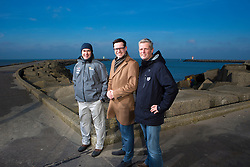 Deputy Mayor Karsten Klein (The Hague's alderman for Youth, Welfare and Sport) Tom Touber (COO Volvo Ocean Race) and Bouwe Bekking (Skipper Team Brunel) at the announcement of the Scheveningen Pitstop during the Volvo Ocean Race 2014-1015. The Pitstop will be during the Leg from Lorient to Gothenburg which starts on the 17th on June. January 29th 2014, Scheveningen, The Netherlands.