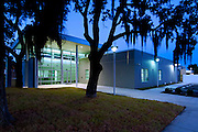 Tampa Police Station surrounded by live oak trees in Tampa, Florida.  Photographed for Peter Brown Construction.
