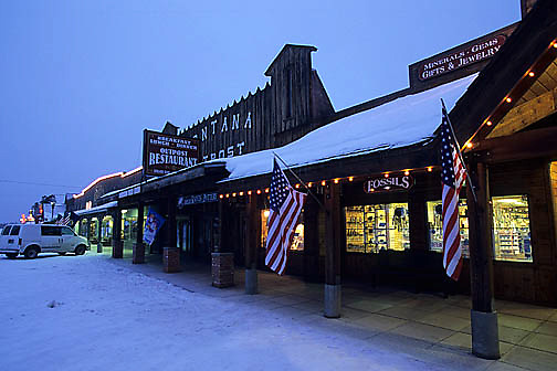 Montana, Main street of West Yellowstone. Winter.