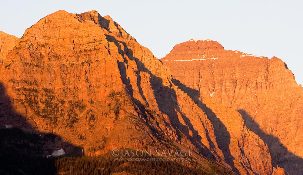 Sunrise on Peaks in Glacier National Park