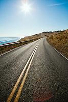 A sunny Summer afternoon on Cattle Point Road, San Juan Island, Washington, USA.