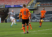 12th January 2019, Tannadice Park, Dundee, Scotland; Scottish Championship football, Dundee United versus Dunfermline Athletic; James Vincent of Dunfermline Athletic fires a shot just wide of the goal
