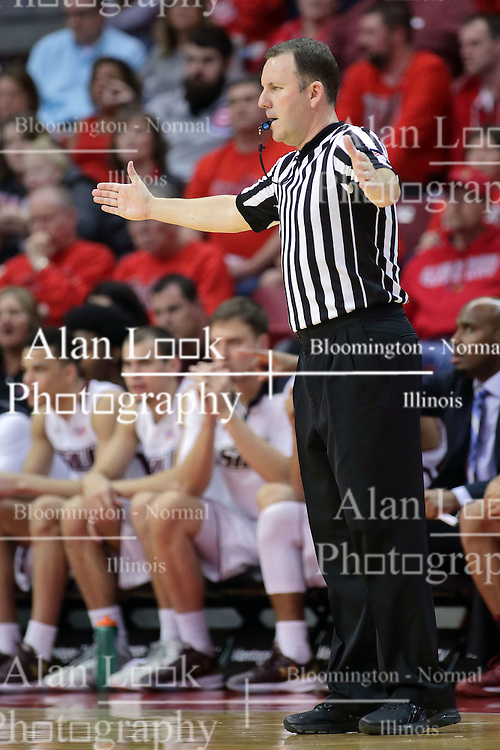 22 February 2017:  Brad Gaston indicates the gap too wide to count time during a College MVC (Missouri Valley conference) mens basketball game between the Southern Illinois Salukis and Illinois State Redbirds in  Redbird Arena, Normal IL