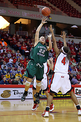 06 December 2008: Cassie Schrock gets a shot off over Brea Banks during a game between the Eastern Michigan Eagles and the Illinois State Redbirds on Doug Collins Court inside Redbird Arena on the campus of Illinois State University, Normal Il.