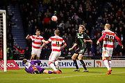 Stoke City forward Peter Crouch misses the the goal gaping wide during the The FA Cup third round match between Doncaster Rovers and Stoke City at the Keepmoat Stadium, Doncaster, England on 9 January 2016. Photo by Simon Davies.